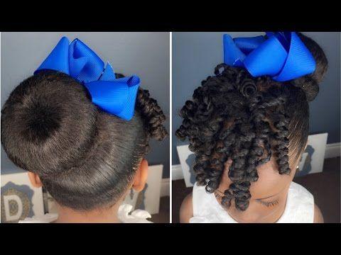 sock bun  curls tutorial  kids natural hairstyle