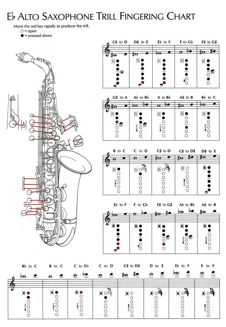 Alto sax sheet music saxophone guitar chords tenor also  flat fingering chart saxophones in pinterest rh