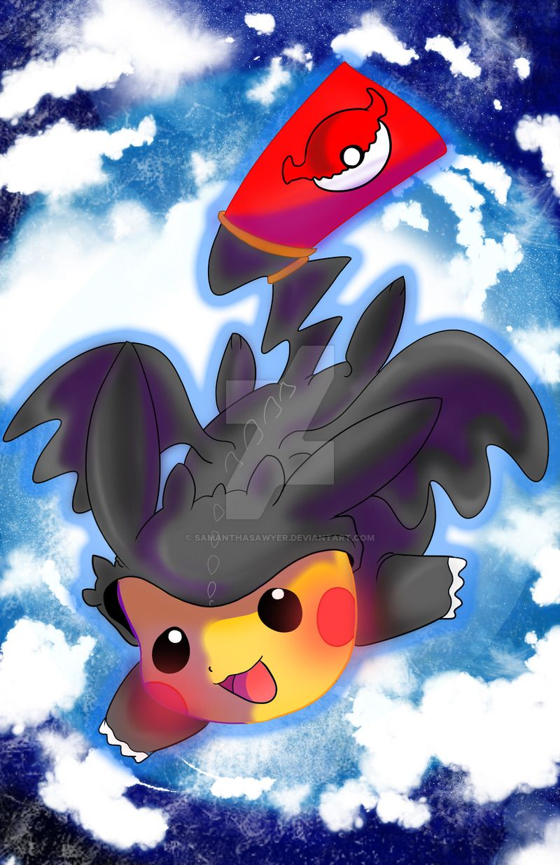 Toothless Pikachu by SamanthaSawyer   Cute cartoon ...