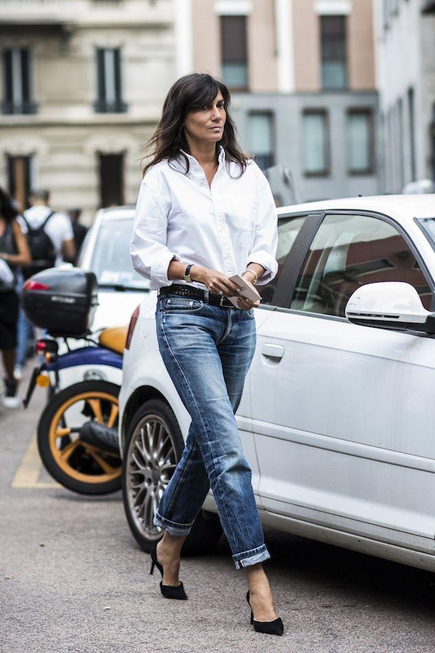 Street Style: Emmanuelle Alt | Emmanuelle alt, Classic white shirt ...
