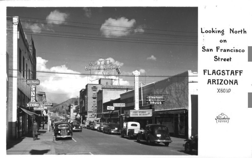 Looking North of San Fancisco Street Flagstaff Arizona 1940s