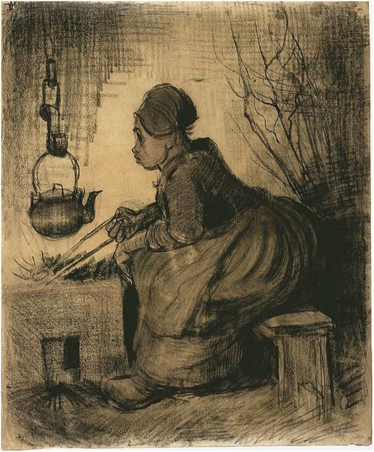 Vincent van Gogh Woman by a Hearth Drawing