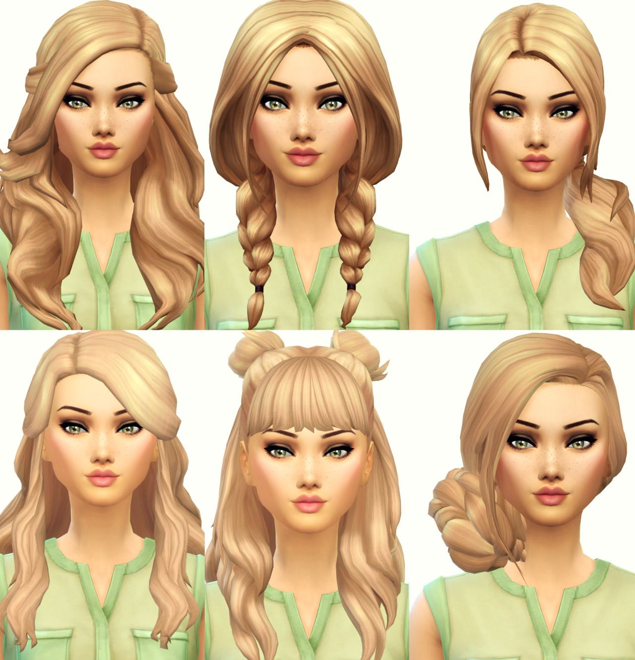isleroux sims — current favourite maxis match hair (from left to