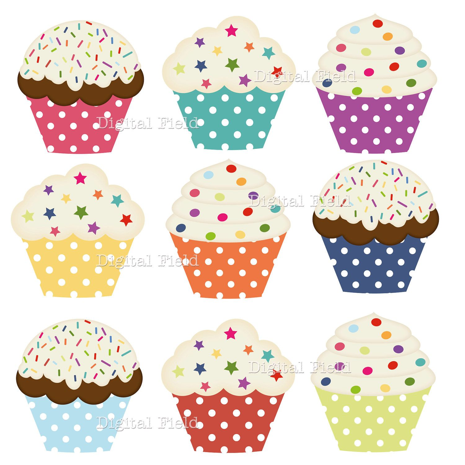 photograph about Printable Cupcakes referred to as Quick Obtain Polka Dot Cupcake Clip Artwork Fastened - vibrant