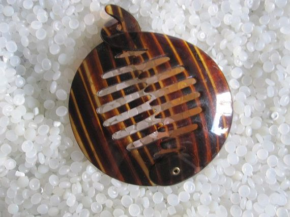 Vintage Hair Accessory Ring Comb Ponytail Holder Tortoiseshell