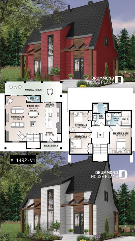 Discover The Plan 1492 V1 Scandi Which Will Please You For Its 3 Bedrooms And For Its Cottage Chalet Cabin Styles Cottage House Plans Sims House Plans House Plans Open concept chalet house plans