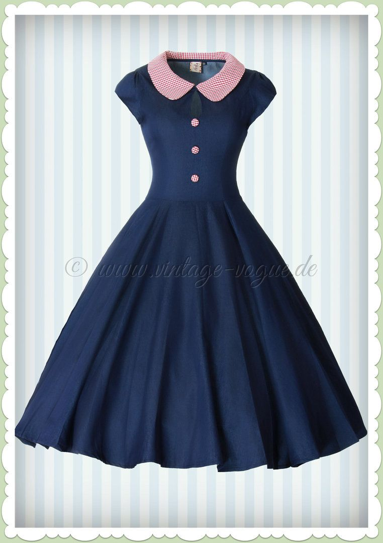 Banned 50er Jahre Rockabilly Pin Up Jeans Kleid - Blueberry Hill ...