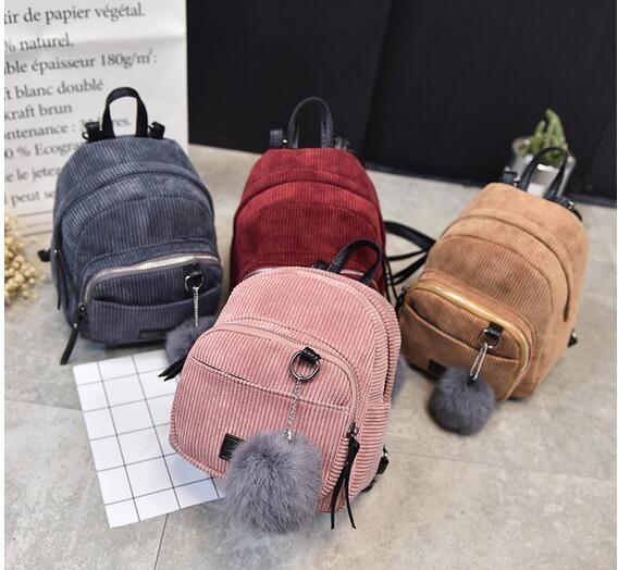 Women Corduroy Mini Backpack School Bags Girls Small Travel Handbag Shoulder Bag