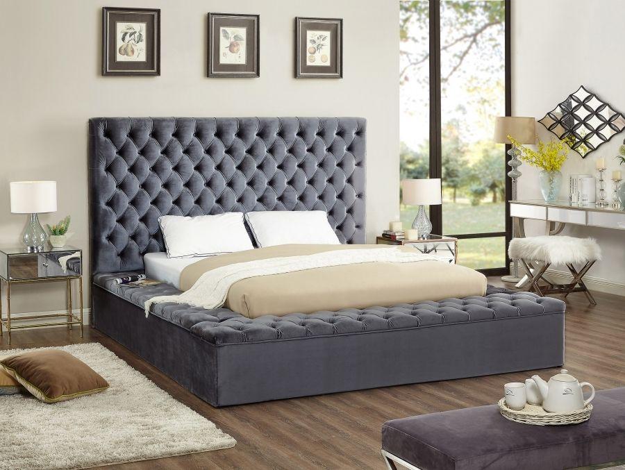 Meridian Furniture Blissgrey Q Bliss Grey Velvet Queen Bed