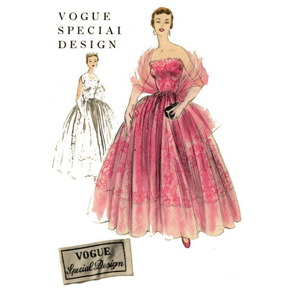 1950s Strapless Evening Dress Pattern Vogue Special By