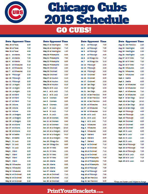 photograph about Printable Cubs Schedule identify Printable 2019 Chicago Cubs Plan Printable MLB
