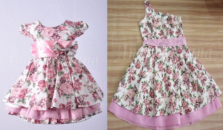 6296890b67f119 Vestidos Mãe e Filha Floral. Tecido: Tricoline, Algodão. Não ...