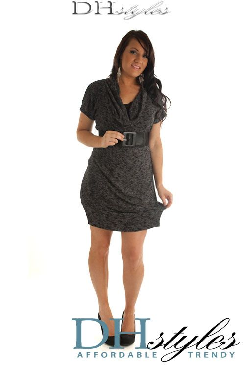 Charcoal Marled Cowl Neck Plus Size Sweater Dress w Belt $41.99 ...