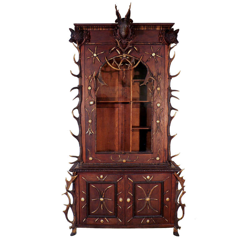 antique black forest antler gun cabinet bohemia ca. 1870 | From a unique  collection of - Antique Black Forest Antler Gun Cabinet Bohemia Ca. 1870 From A
