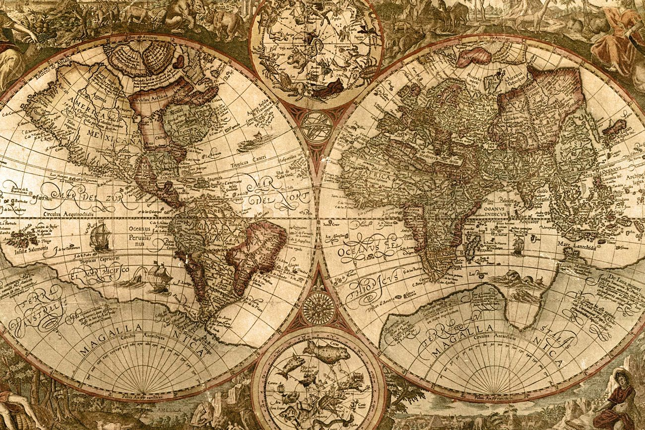 Old Map Here Are Dragons Google Search History Pinterest - Large sepia world map