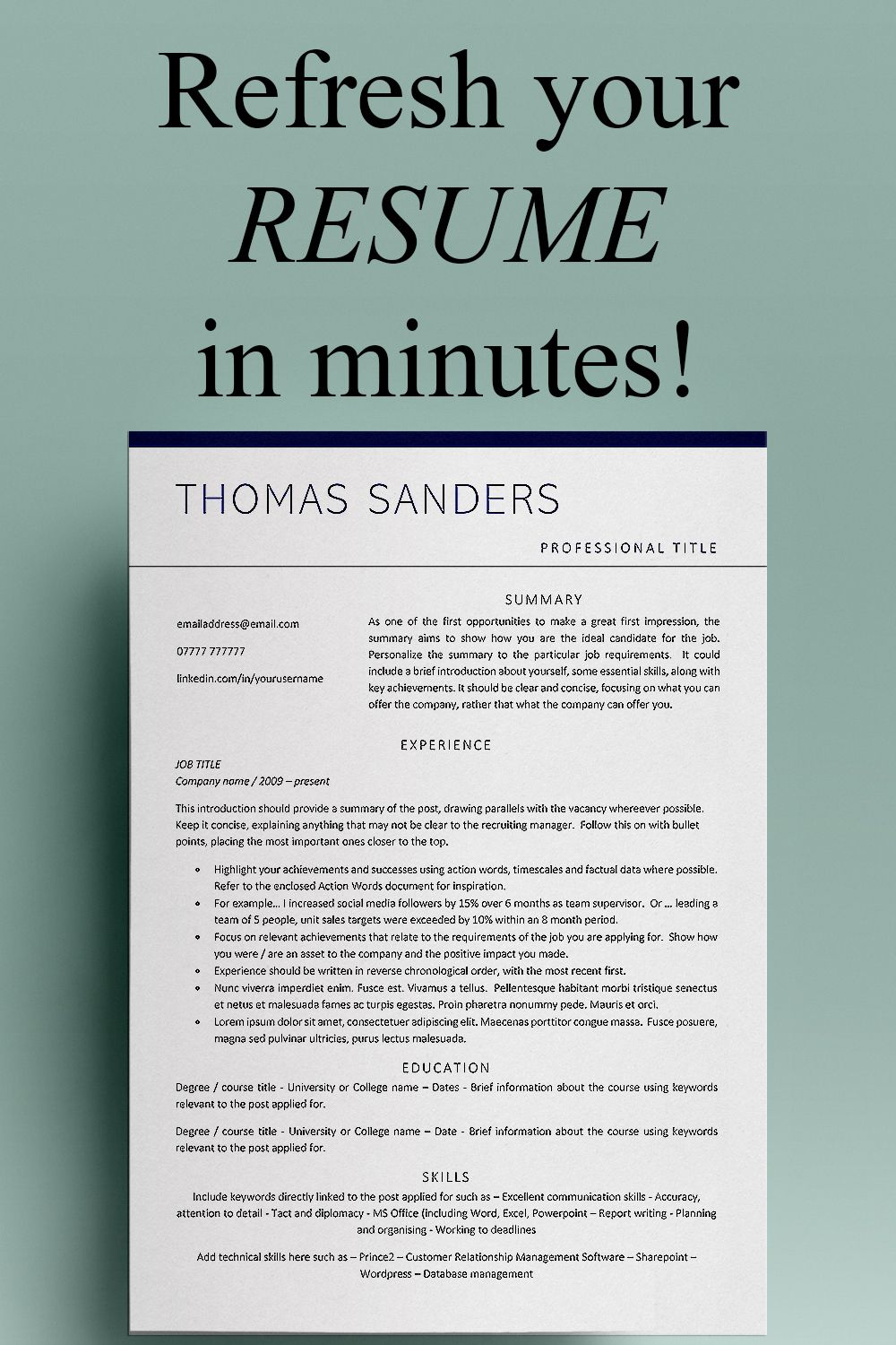 Curriculum Vitae Cv Template Cv Resume Template Marketing Etsy Cv Template Resume Words Marketing Resume
