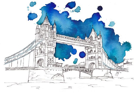Tower Bridge Watercolor Art Sketches Watercolor Art London Art