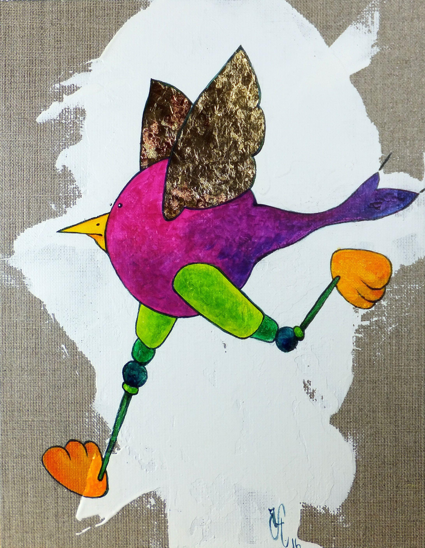Peinture Acrylique De Carole Hervier Super Patoune 24x30 Cm Mes