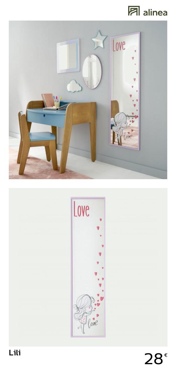 alinea : lili miroir rectangulaire 100x30cm à imprimés roses ...