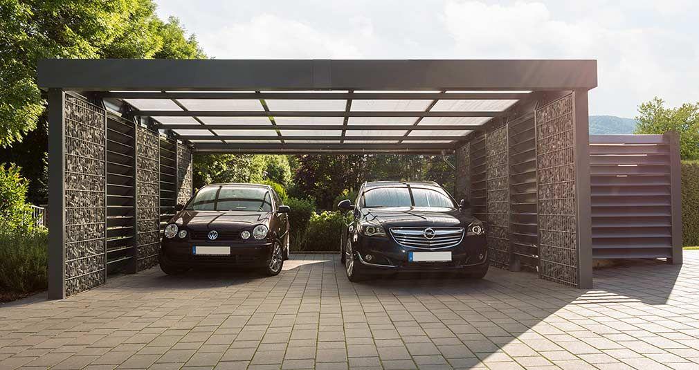 Gabionen carport mit platz f r zwei fahrzeuge garten for Garajes para carros