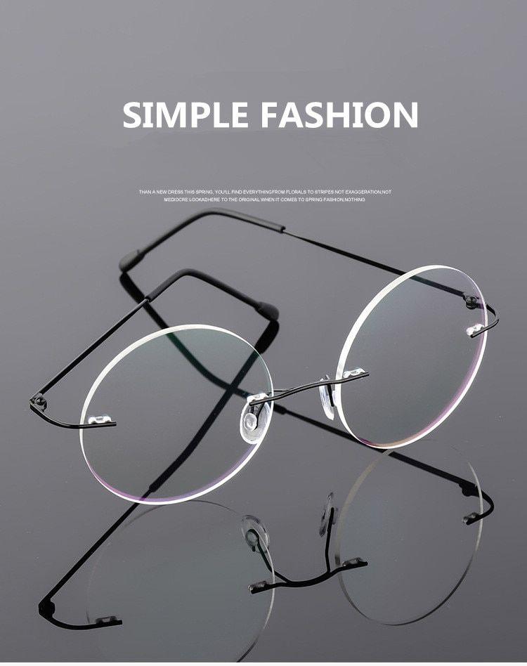 3ad2e0b17f Big Discount Steve Jobs Star Style Foldable Ultra-light Memory Titanium  Rimless Round Myopia Eyeglasses Optical Glasses Frame Men Eyewear