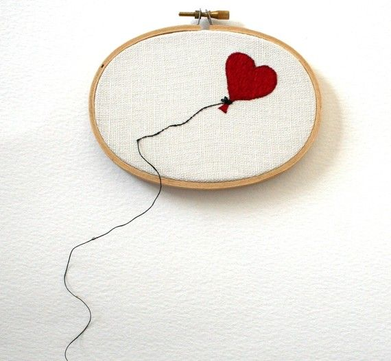 Oval Heart Shaped Balloon Hand Embroidered Wall by Samskiart,