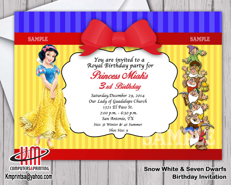 Snow white & the Seven Dwarfs Birthday Invitations Digital U print ...