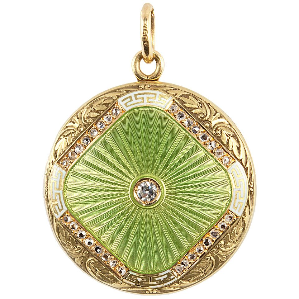 43f3462d3070 Green Enamel Diamond Gold Locket. A unique locket featuring beautiful lime  green and white guilloche