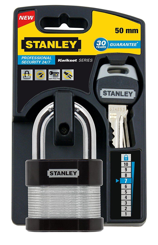 Stanley 50 mm Laminated Padlock Standard Shackle Pack of 2