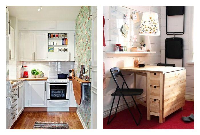 14 trucos para crear una zona de comer en la cocina - Mesa plegable pequena ...