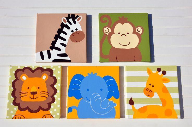 5 Stück Original Gemälde Leinwand Tier Kinderzimmer Set