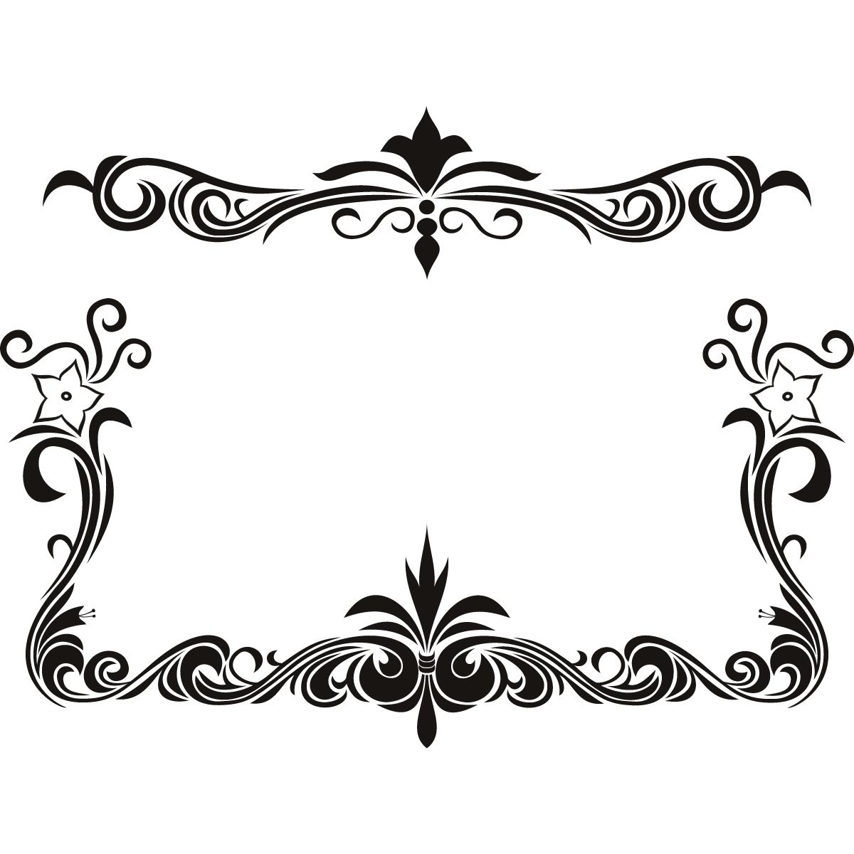 Black Flower Page Borders Design sadiakomal Decal wall