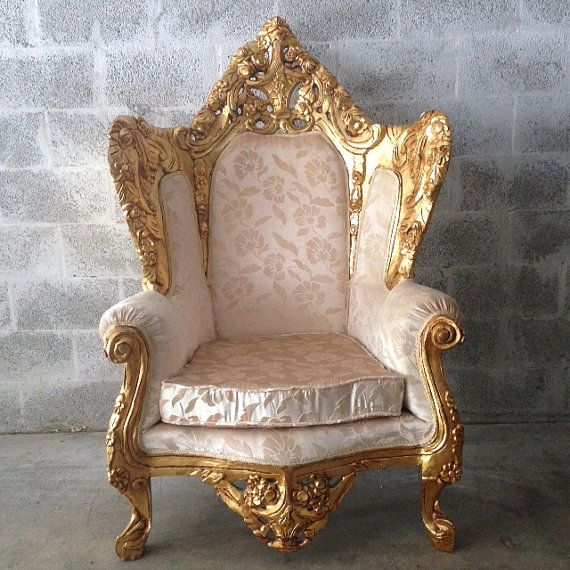 Antique Italian Rococo 1 Chair Left Bergere Wingback Throne King Chair Gold  Gild Leaf White Champagne Fabric Handmade Solid Wood HandCarved - Antique Italian Rococo 1 Chair Left Bergere Wingback Throne King