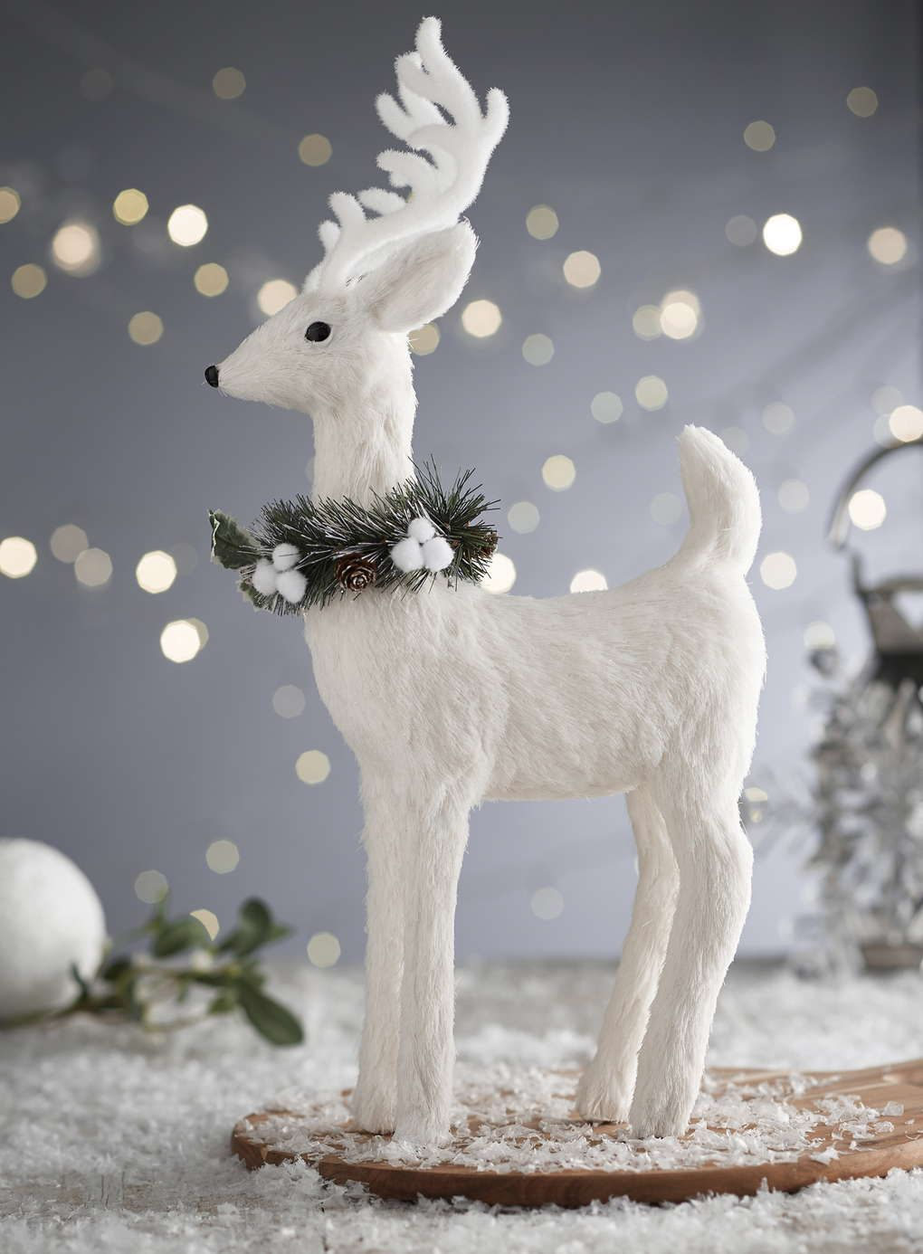 White snowy reindeer decoration - Christmas Decorations & Lights ...