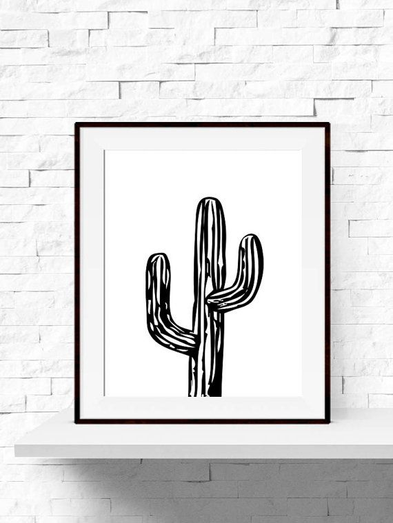Black And White Cactus Drawing Pinterest Image