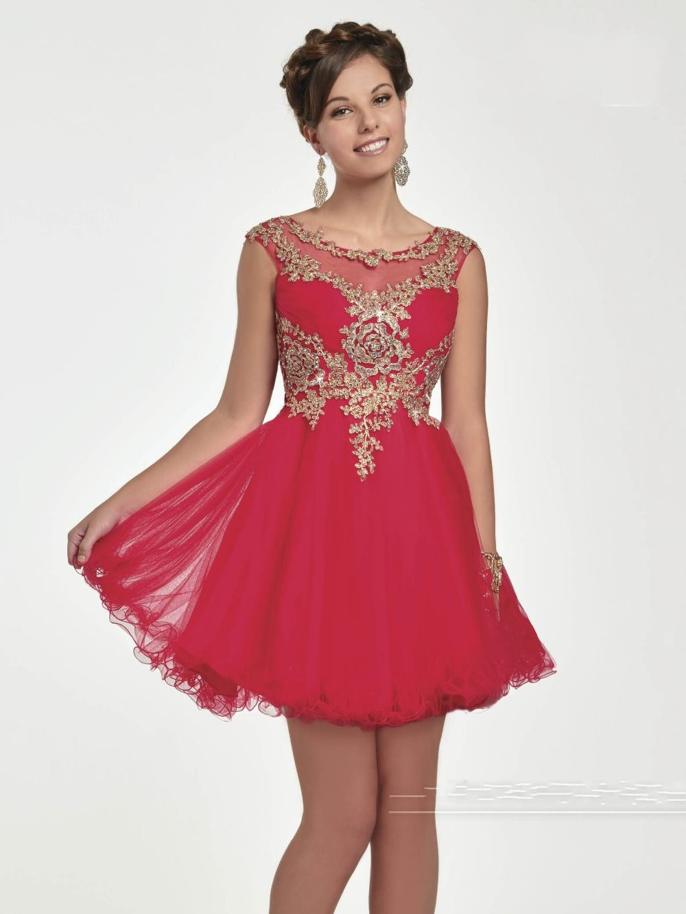 Red With Gold Lace Homecoming Dresses Short Prom Dress High School ...