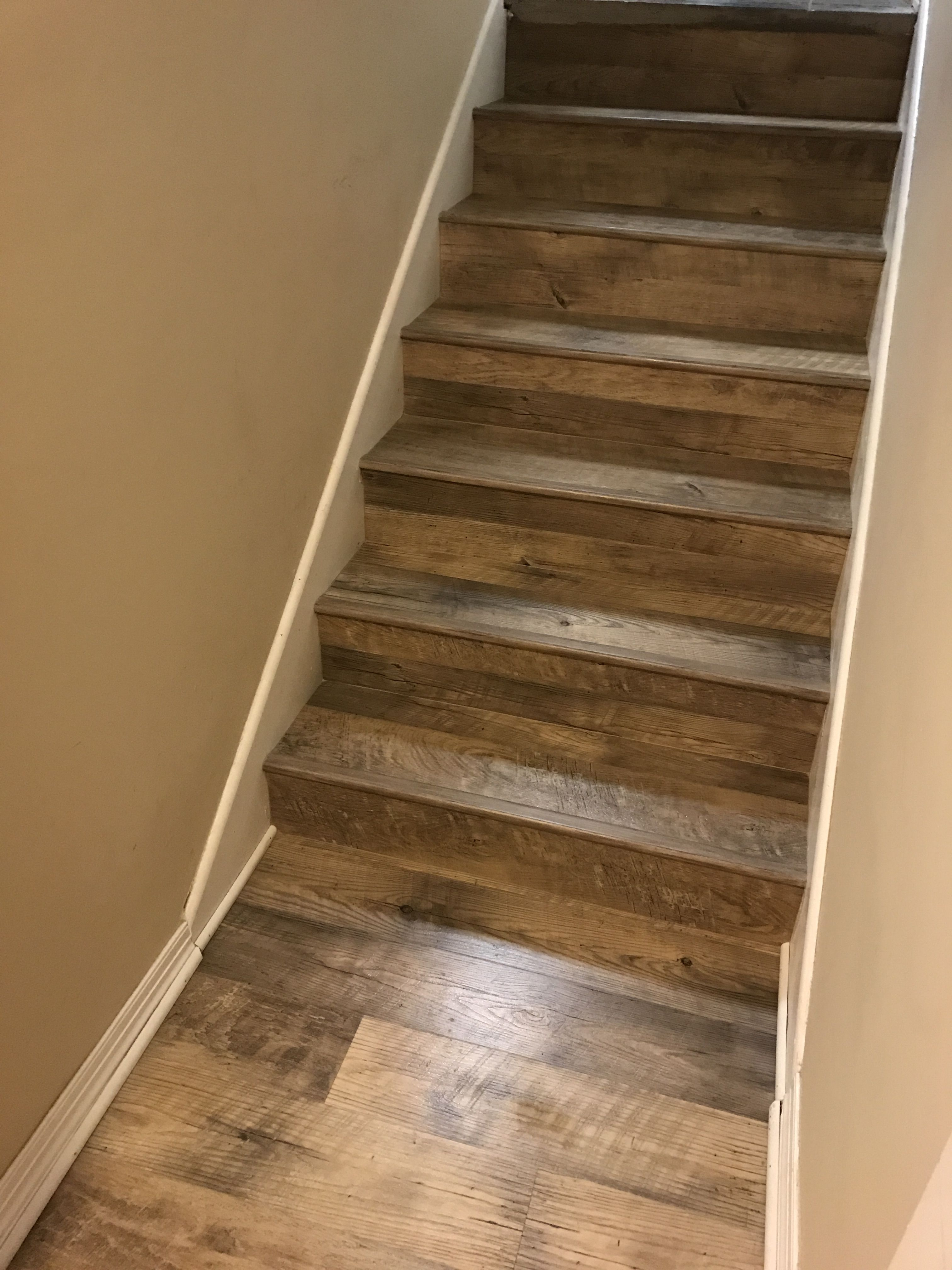 Dockside Sand Mannington Adura Luxury Vinyl Plank Glue Down On Stairs