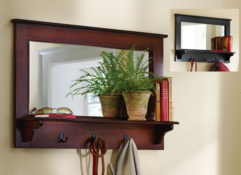Large Entryway Wooden Wall Mirror Shelf And Coat Rack