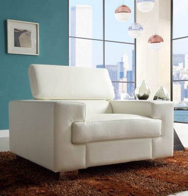 Homelegance Vernon Collection White Bonded Leather Chair