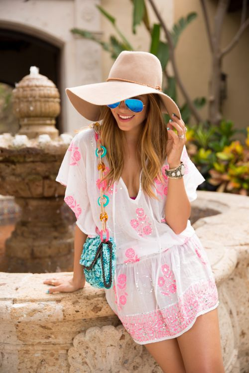 Going to be by the beach all day  A large floppy hat looks so good with a  cute cover-up and your bathing suit. a00d8f90290