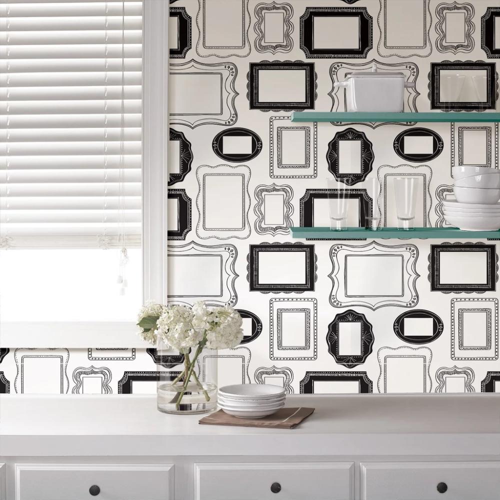 Photo Opp Frames Peel And Stick Wallpaper Peel And Stick Wallpaper Home Wallpaper Black And White Wallpaper