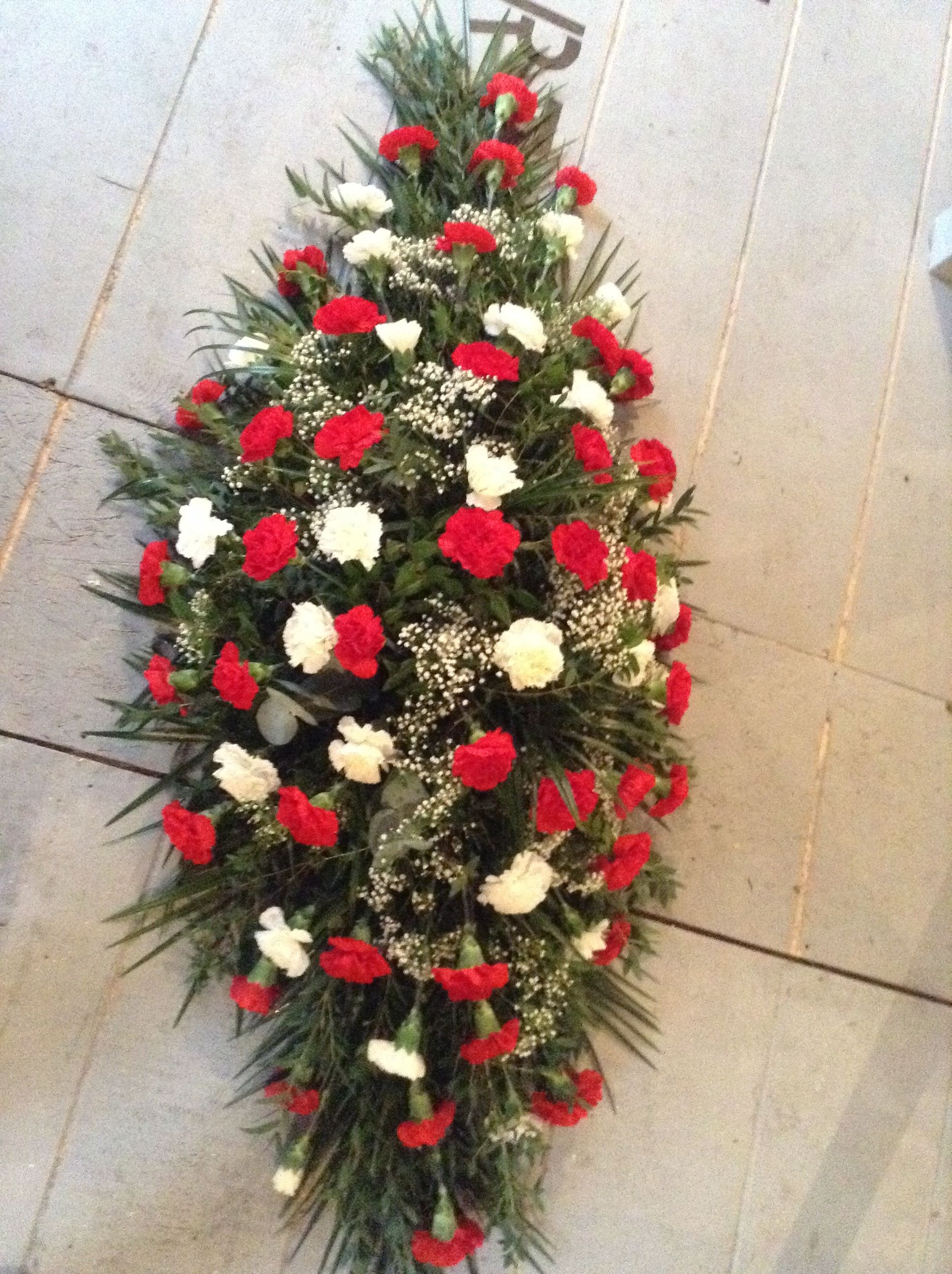 Funeral flowers red and white carnation funeral flowers red and funeral flowers red and white carnation funeral flowers red and white coffin spray izmirmasajfo Image collections