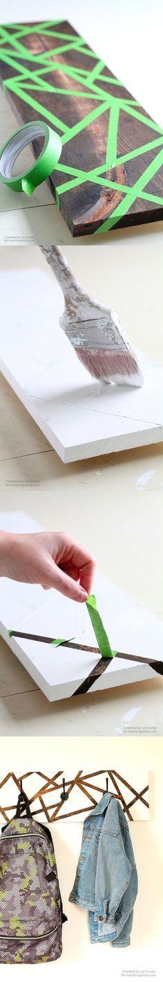 garderobeganz leicht selber bauen aus einem brett m bel pinterest selber bauen diy. Black Bedroom Furniture Sets. Home Design Ideas