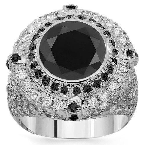 29d3d435db974f 14K White Gold Mens Diamond Pinky Ring with Black Diamonds 5.50 Ctw ...