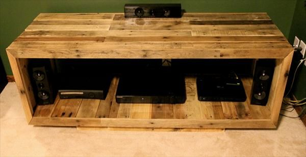DIY Pallet Entertainment Center Furniture Indoor FurniturePallet PlansFurniture