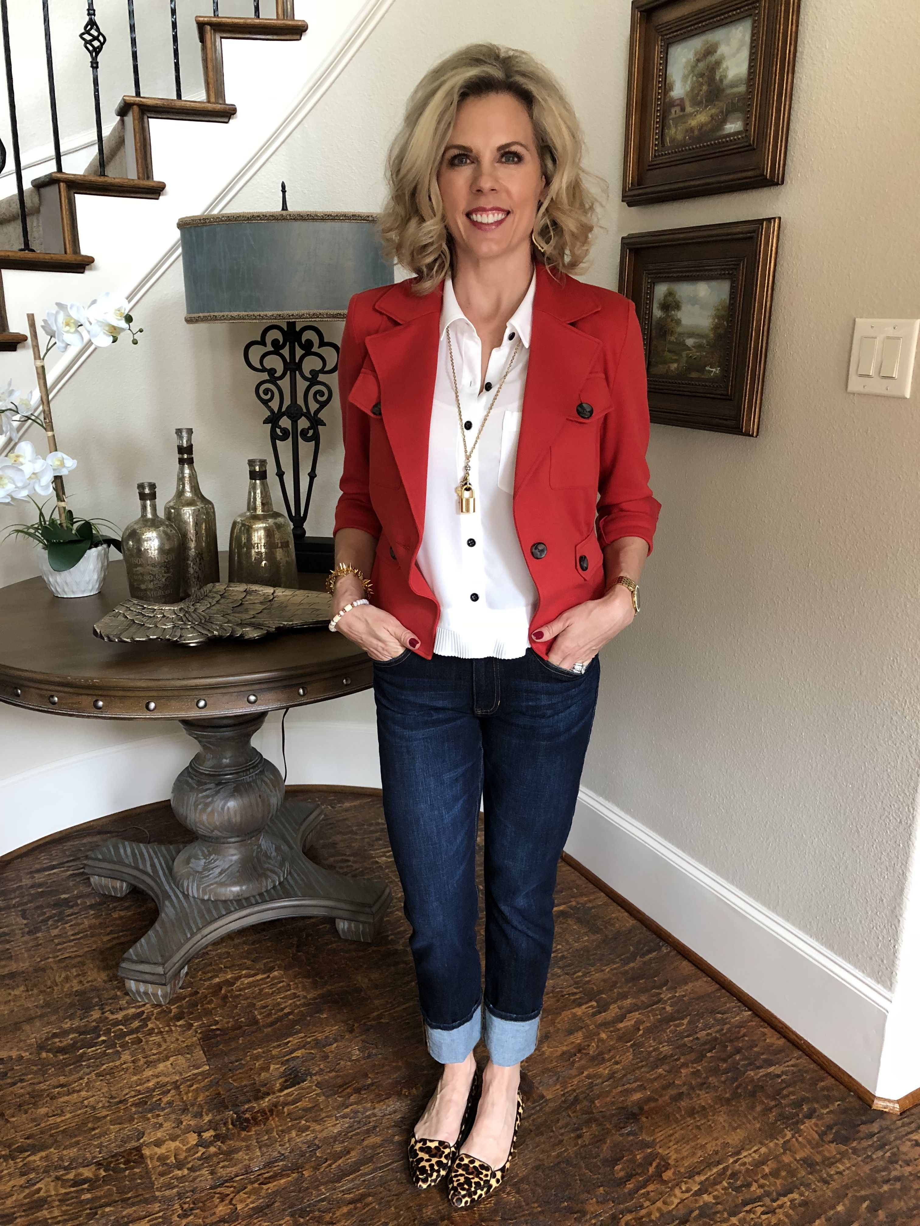 a45ce068c07bd0 The LRJ (Little Red Jacket) is the perfect Red! Love it with the Pleat  Blouse and High Straight jeans.