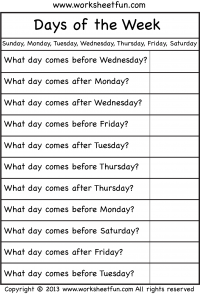 Days of the Week Worksheets | Printable Worksheets | English lessons ...
