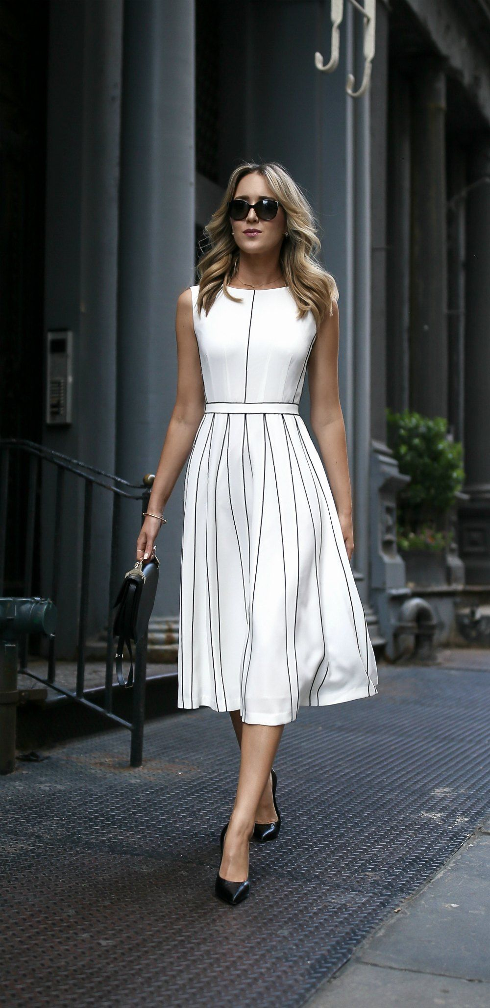 3f1b8f04f317 white pleated sleeveless a-line midi dress with black piping illusion  pleats    classic summer style    perfect for the office or any special  event!