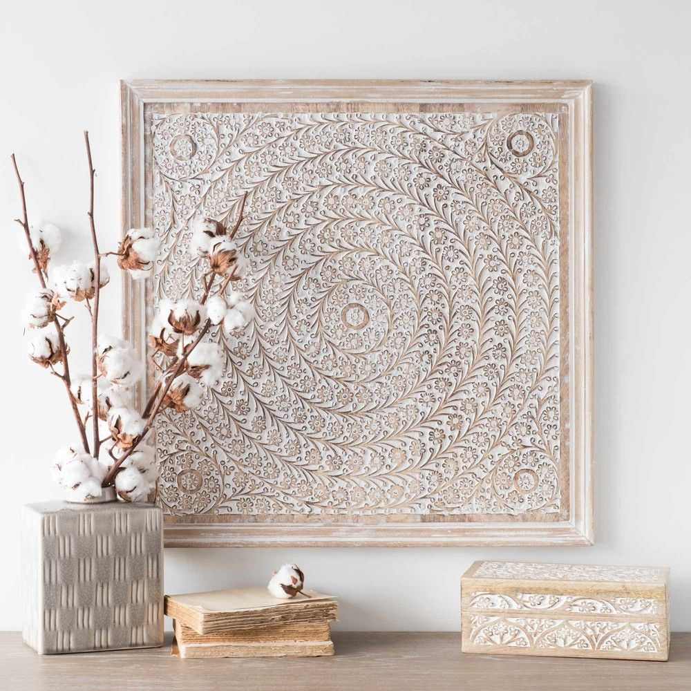 Deco Murale Florale En Manguier Blanchi 60x60 Maisons Du Monde Mural Floral Deco Murale Parement Mural