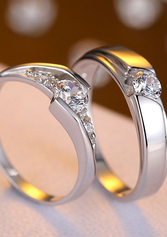 Cheap Matching Couple Promise Rings With Cz Vintage Engagement Rings Silver Engagement Rings Wedding Ring Sets